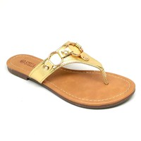 Woman's Gold Color Flip Flops with Gold Color Rings