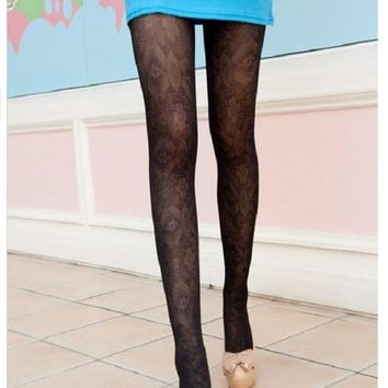 1 pcs Fashion Stocking Retro Hollow Out Totem Velvet Backing Pantyhose Tights 5 Colors Women Accessories