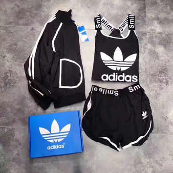 """Adidas"" Fashion Casual Multicolor Clover Letter Print Vest Sunscreen Shirt Coat Set Three-Piece Sportswear"