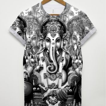 Black and White Ganesh All Over T Shirt