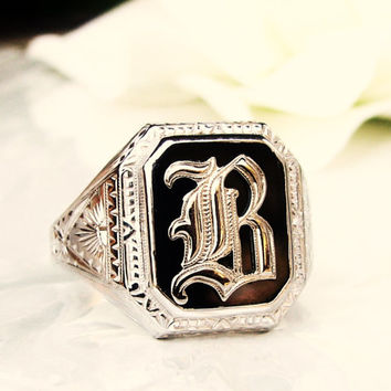 "Antique Art Deco Ostby Barton Maltese Cross Ring Historical OB Initial ""B"" Onyx Ring 10K White Gold Etched Men's Antique Wedding Ring Sz 11!"