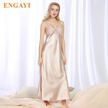 Long Women Night Dress - Lace Nightgown Silk Satin