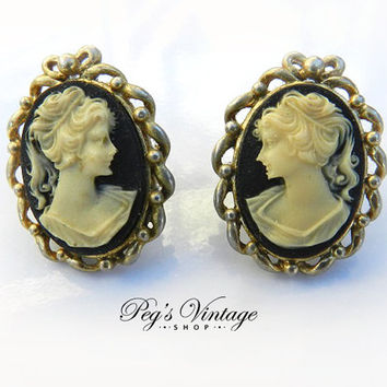 Vintage Gold Tone Cameo Pierced Earrings, Craved Resin Lucite Black & White Cameo Earrings
