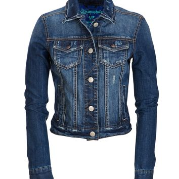 Classic Indigo Destroyed Denim Jacket - Aeropostale
