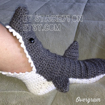 Crochet PATTERN for Shark Slipper Socks