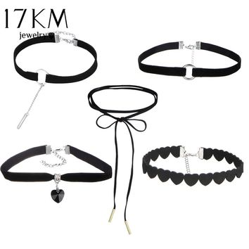 17KM Sexy Black Gothic Punk Velvet Tattoo Lace Choker Necklace Long Pendant Jewelry Beads Infinity Heart Women Collar