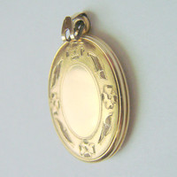Vintage Sweetheart Engraved Gold Filled Enamel Locket / Antique Jewelry / Jewellery / CIJ Sale 20% Coupon Code (CIJSale1)