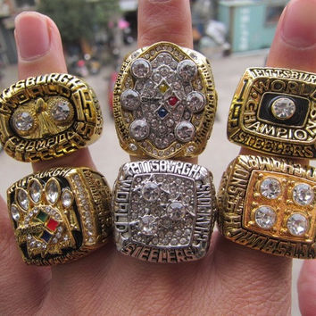 1974 1975 1978 1979 2005 2008 Pittsburgh Steelers Super Bowl Championship Ring six together so