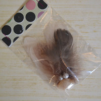 Feather hair clip. Neutral feathers with pearls. No slip grip clip. -ONE of A KIND- (Made by lippy brand)
