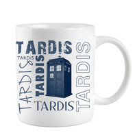 Tardis Coffee mug for Dr Who fan with Blue Police Box telephone booth gifts for geeks under 10