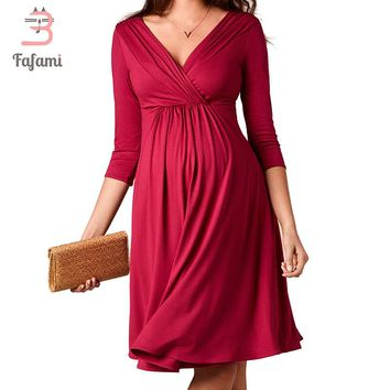 Maternity Clothes Outwear Elegant Pregnancy Dresses Tencel Model Nursing Dress For Pregnant Women Maternity Clothing photo wear
