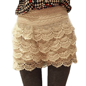 2016 Hot Selling Summer Fashion Women's Sweet Style Lace Crochet Elastic Waist Slim Short