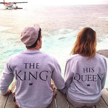 EAST KNITTING H1071 2017 New Fashion Couples Sweatshirts KING QUEEN Casual Long Sleeve Pullovers Hoodies Lovers Sweatshirt