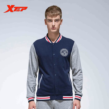 XTEP Men Sports Jacket Zipper Hooded Male Baseball Jackets Long Sleeves Athletic Running Coats Sportswears 884329349039