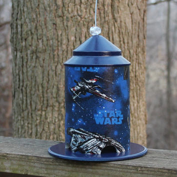 Star Wars Custom Bird Feeder by BFG.  Great for kids or kid at heart!  Nice Kids Decor Piece.  Loved by the Jedi, the Empire and Birds.
