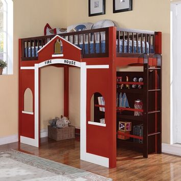 Fola espresso and red finish wood Fire house design loft bed with storage shelves