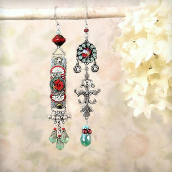 Mosaic Garden Earrings, Vintage Italian Micromosaic Silver Red Aqua Jade Green Dangle Earrings, Ornate Bohemian Flower Earrings, Mismatch