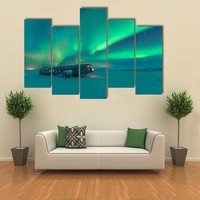 Northern Lights Over Plane Wreck Multi Panel Canvas Wall Art