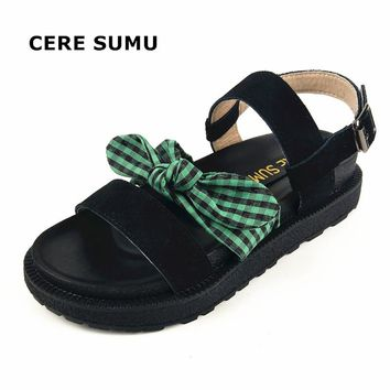 2018 Female Spring Summer Bowtie Genuine Natural Cow Leather Ankle Strap Casual Gladiator Platform Wedges Sandals Shoes Women