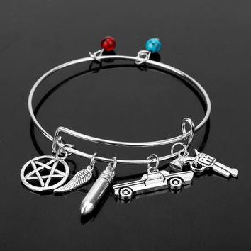 MQCHUN Supernatural Inspired Bangles for Women Dean Winchester Gun Pentagram Crystal Charms Wire Bangles Bracelets Jewelry Gifts