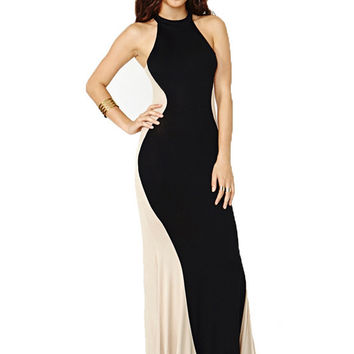 Black Fishtail Halter Sleeveless Bodycon Maxi Dress
