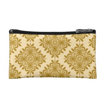 Golden Brown Damask Pattern Cosmetic Bag