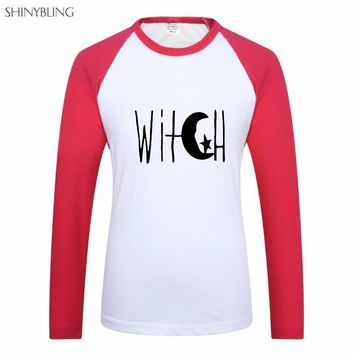 Shinybling Witch Moon Print Women Casual Long Sleeve T Shirt Plus Size 3XL Hipster Cotton Raglan Tshirts Female Fitness Clothing