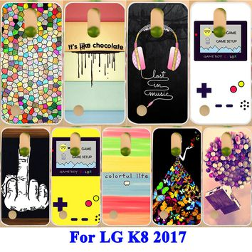 """Soft TPU Hard PC Cases For LG K8 2017 X300 M200N LG LV3 Aristo MS210 5.0"""" Cover Earphone L Series Printing Phone Protective Case"""