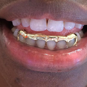 14k gold overlay removable gold teeth grillz caps including the mold kit and shipping 6 teeth /p1