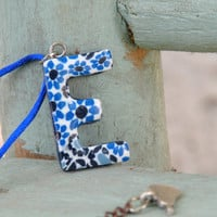 Personalized Initial Necklace. Letter E. Personalized Jewelry. Blue Flower Pendant