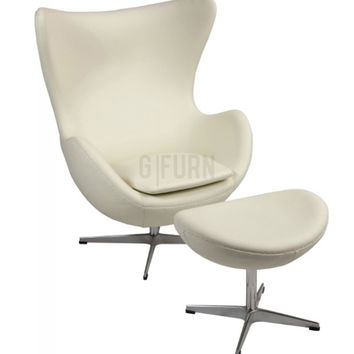 Reproduction of Arne Jacobsen's Egg Chair + Ottoman | GFURN