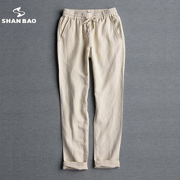 SHAN BAO brand men thin section loose linen casual pants 2017 summer high quality luxury elastic waist trousers big size men