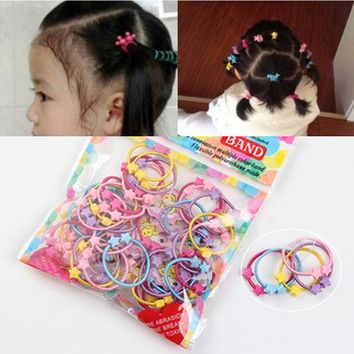 DCCKL3Z 1Pack Little Girl Hair Accessories Cute Candy Colors Elastic Hair Rubber Band High Quality Kid Ponytail Holder Headband Ties Gum