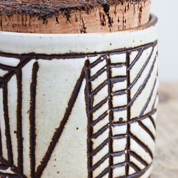 April Napier Ceramic Lines Canister with Cork