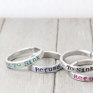 Refuse To Sink Ring,  Stacking Ring, Hipster Ring, Personalized Ring, Hand Stamped Ring, Personalized Jewelry, Quote ring