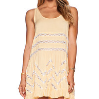 Free People Tiny Dot Trapeze Slip in Yellow