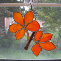 Fall Leaves Stained Glass Suncatcher - Stained Glass Leaf - Autumn Sun Catcher