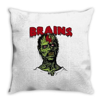 zombie brains Throw Pillow
