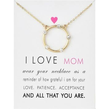 Fashion Jewelry I Love Mom Halo Charm Pendant Necklace For Women