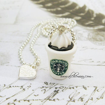 polymer clay necklace Stabucks coffee miniature by AlchemianShop