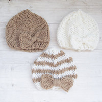 Hand Knitted Baby Hat /  Newborn Hat / Girl Hat / Bow Hat / baby Clothing /  White, Pink, Brown, Stripes