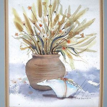 Watercolor Painting Still Life Floral Bear VTG Original Barbara Brubaker