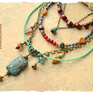 Boho Colorful Necklace, Rustic Gemstones, bohostyleme, Handmade Bohemian Necklace, Modern Hippie, Kaye Kraus