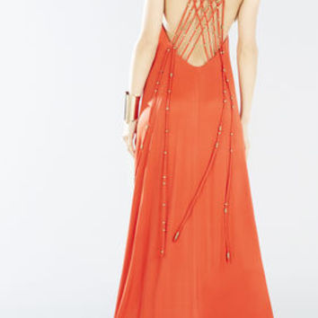 Aviana Crisscross Back Beaded Maxi Dress - Red