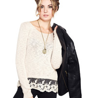 Comfy Lace Trim Sweater   Wet Seal