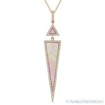 Pink Mother-of-Pearl 0.23ct Round Diamond 14k Rose Gold Pendant & Chain Necklace