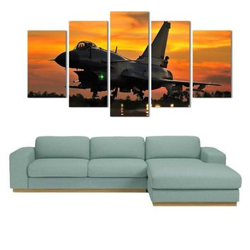 5 Piece Wall Art Painting Military Jet Aviation Plane Sunset Wall Art Print Canv