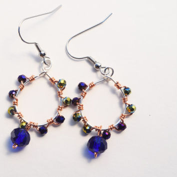 Glass bead Earrings, copper, silver, Blue Green crystal, bright blue, wire wrapped, dangle and drop, gifts for her, summer, hoop earrings