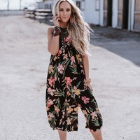 Just Because Tropical Print Jumpsuit - Black