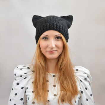 Black Cat Hat, Knit Cat Ear Hat or Cat Beanie, Womens Cat Hat